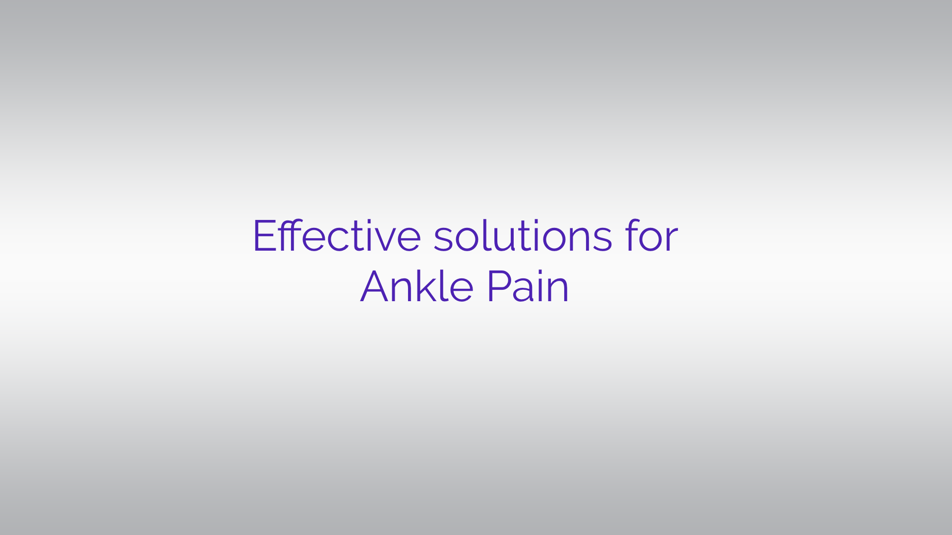 ankle pain solutions